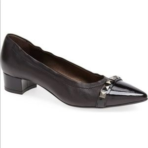 AGL Pyramid Black Leather Stud Pointy Toe Pumps